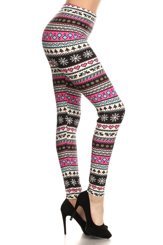 Multicolour Holiday Printed Leggings