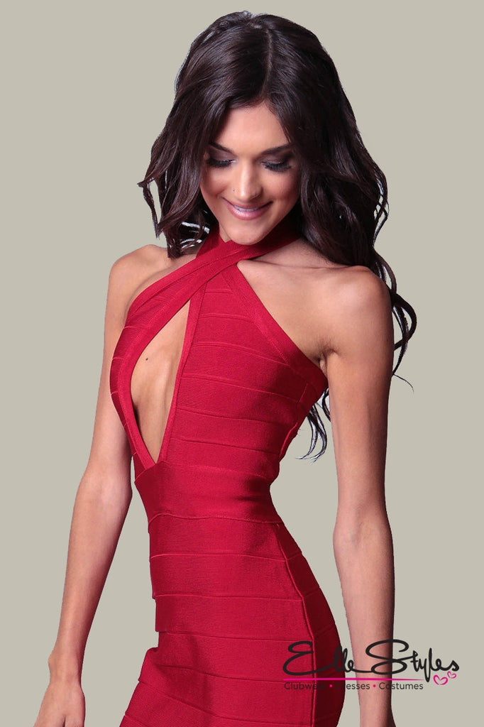 Cross Front Red Bandage Dress