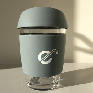 Grey Reusable Glass Coffee Cup - Ecostraws