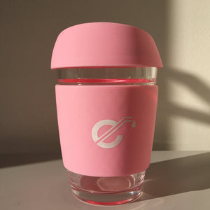 Pastel Pink Reusable Glass Coffee Cup - Ecostraws