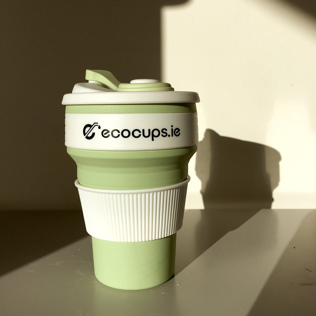 Sage Green Collapsible Reusable Cup - Ecostraws