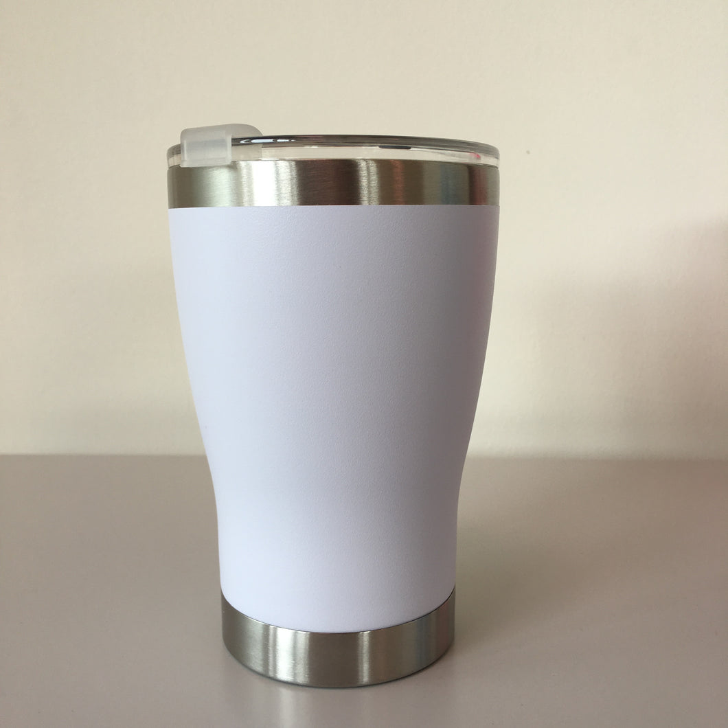 White Stainless Steel Thermal Reusable Cup - Ecostraws