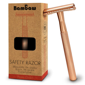Rose Gold Metal Safety Razor - Bambaw