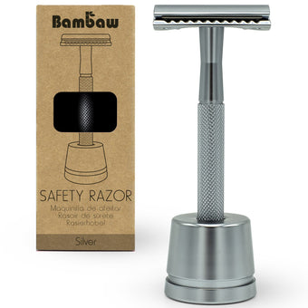 Silver Metal Safety Razor With Stand - Bambaw