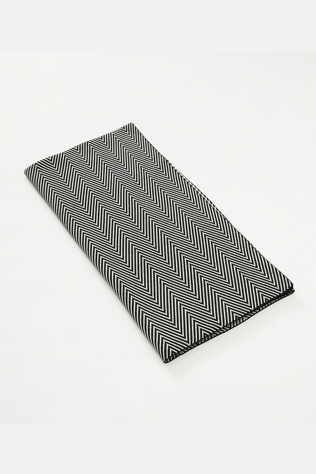 Merino Double Sided Herringbone Blanket - Black