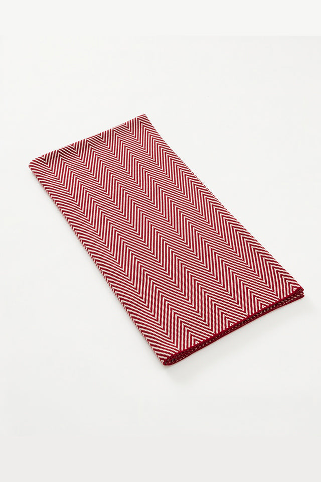 Merino Double Sided Herringbone Blanket - Red