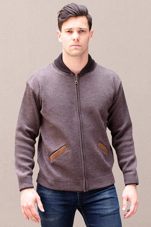 Men's Full Zip Jacket - Ash Brown - Danny's Knitwear