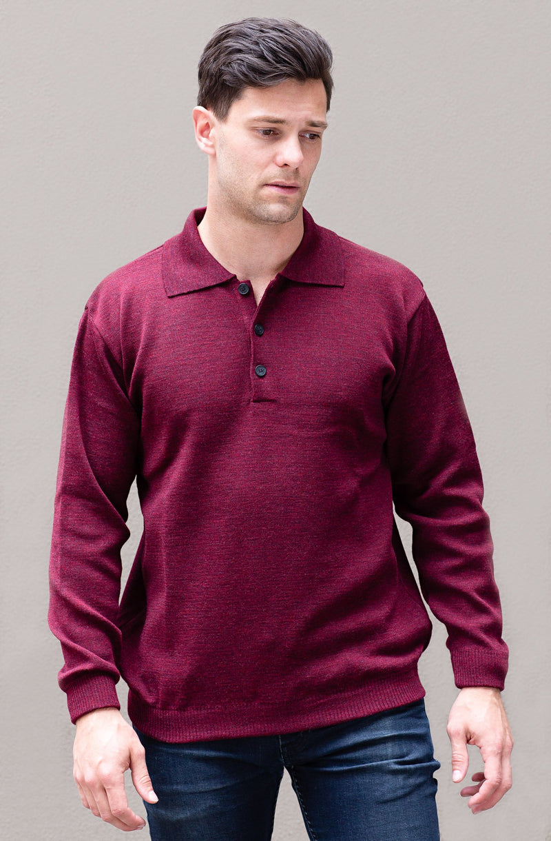 Mid Weight Buttoned Polo Neck - Danny's Knitwear
