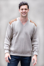 Men's V Neck Pullover With Suede Patches - Danny's Knitwear