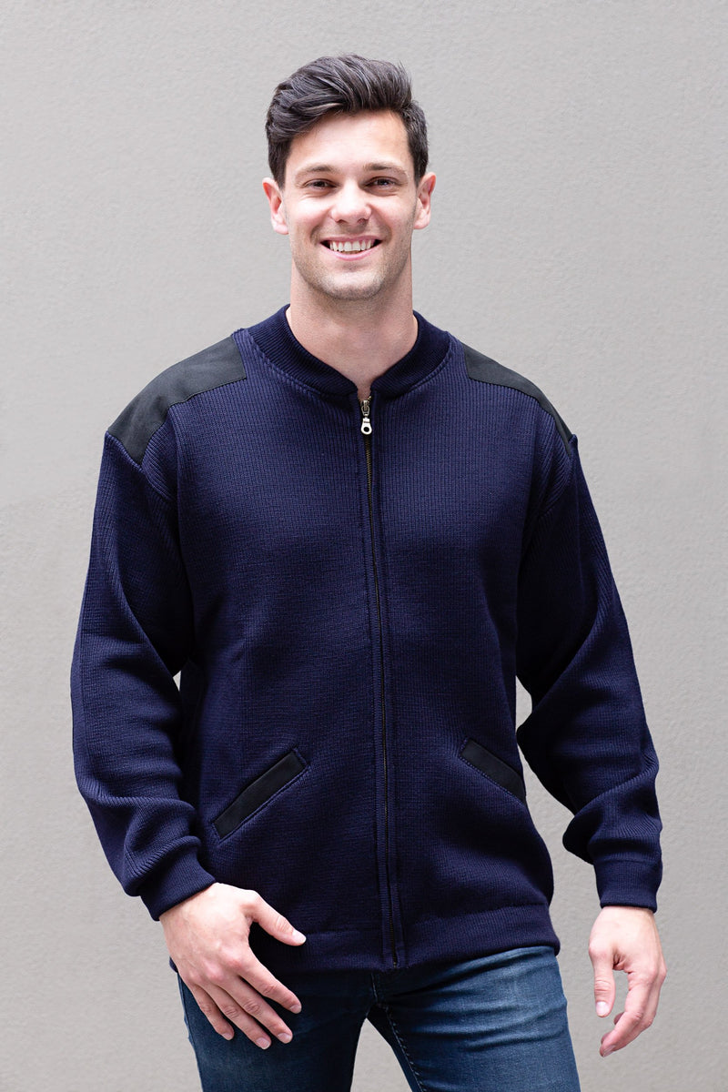 Men's Zipped Cardigan With Suede Patches - Navy - Danny's Knitwear