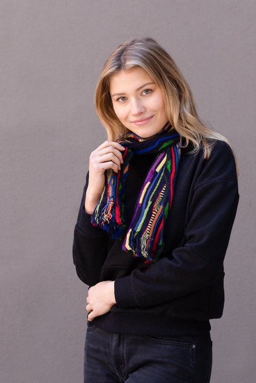 Multicoloured Scarf - Navy - Danny's Knitwear