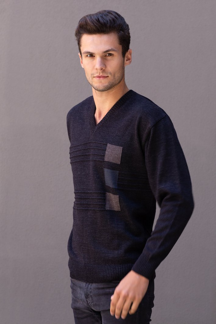 Men's V Neck Pullover With Square Pattern - Danny's Knitwear