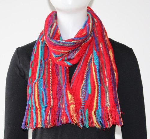 Multicoloured Scarf - Red - Danny's Knitwear