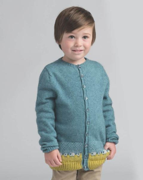 Kids Sheep Cardigan - Mist - Danny's Knitwear