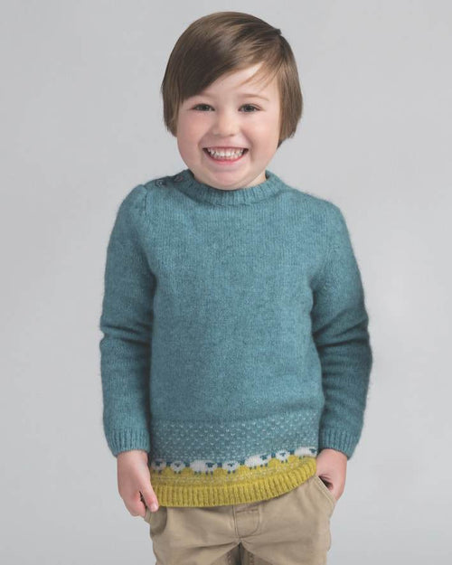Kids Sheep Jumper - Mist - Danny's Knitwear