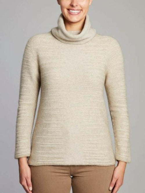 Dalton Shadow Roll Neck Jumper - Natural-Shell - Danny's Knitwear