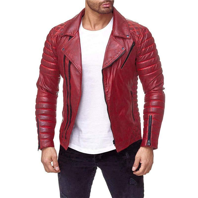 Men Classic Leather Zip Up Lapel Motorcycle Biker Jacket Red/Black