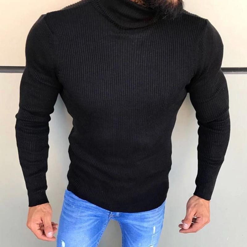 Men's high collar striped sweater