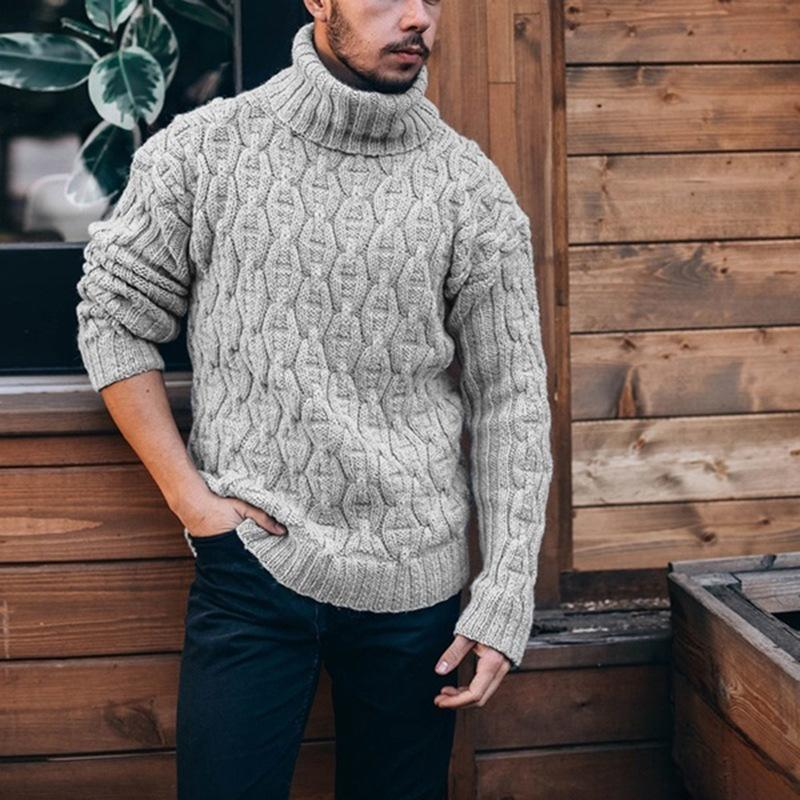 Men's high neck needle diamond twist woolen sweater