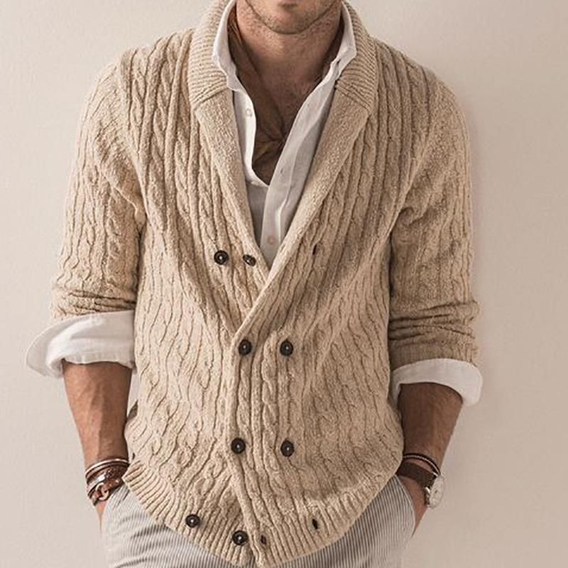 Men's casual T-shirt slim cardigan sweater