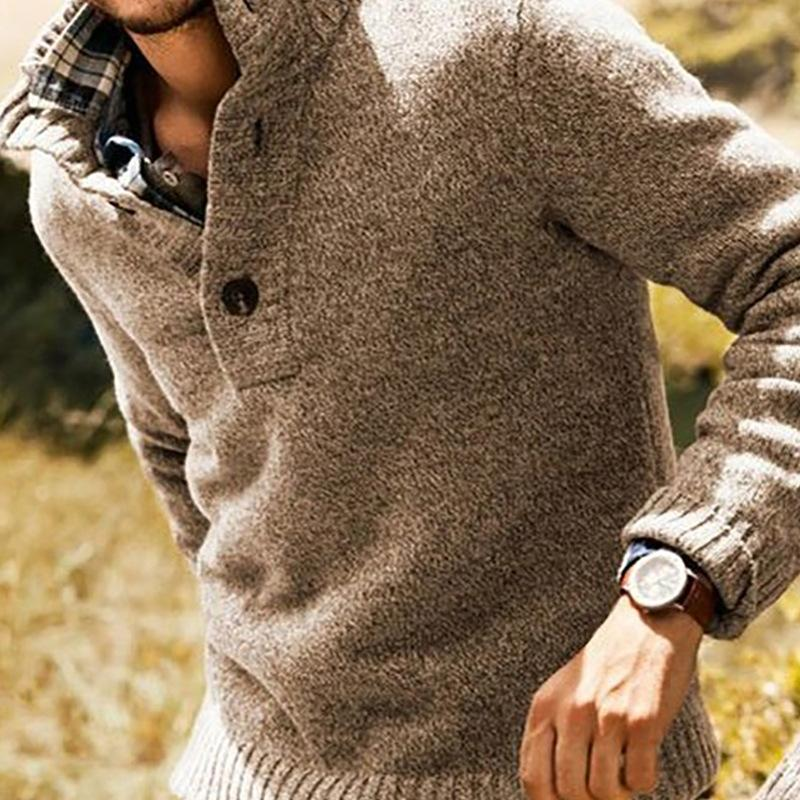 Men's Lapel slim casual Pullover fashion sweater