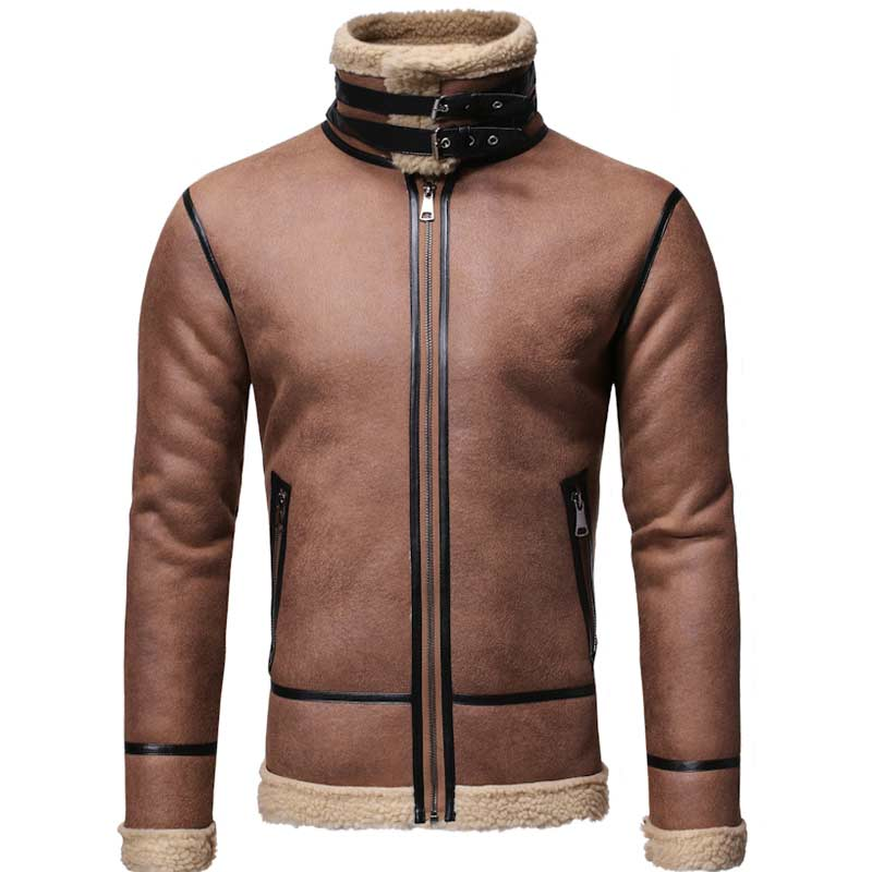 Men Warm Zip Up Winter Motorcycle Sherpa Jackets