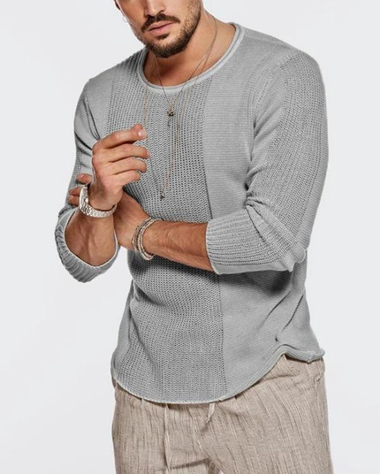 Men's round neck hollow Knitted Top