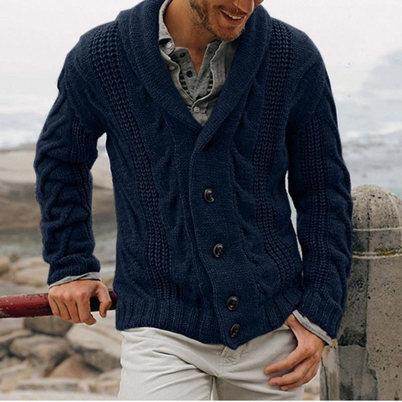 Men's cardigan single breasted fashion knitwear large sweater