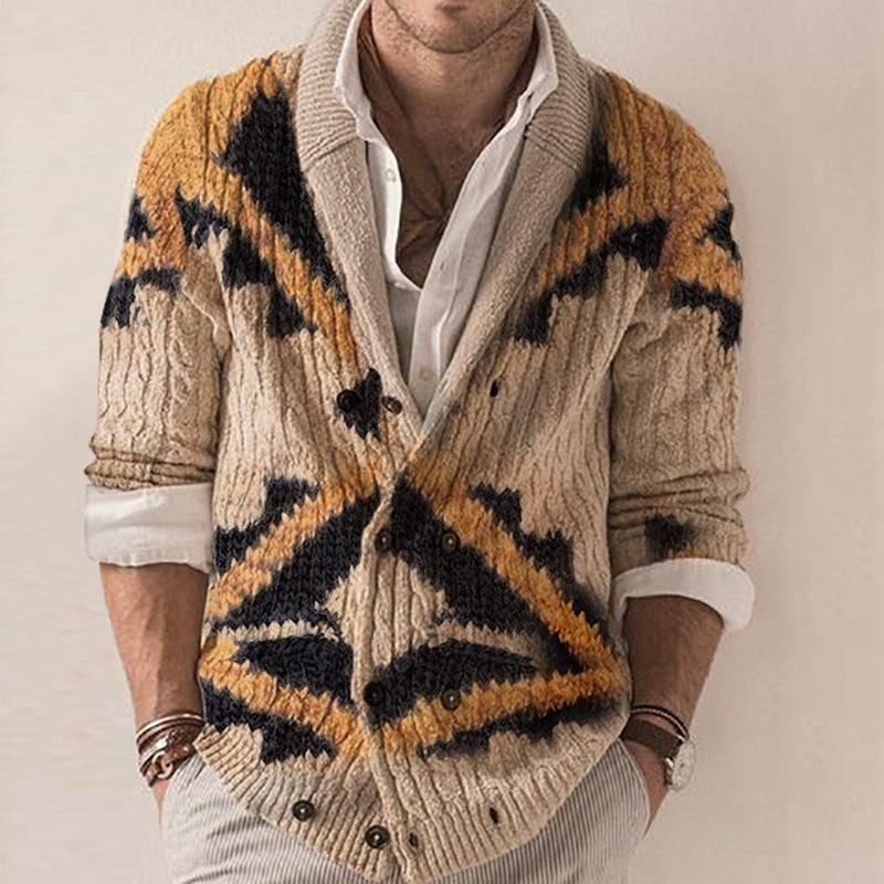 Men's Lapel fashion long sleeve printed cardigan sweater