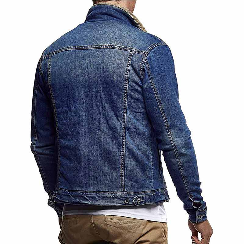 Men Fleece Warm Motorcycle Denim sherpa Jackets
