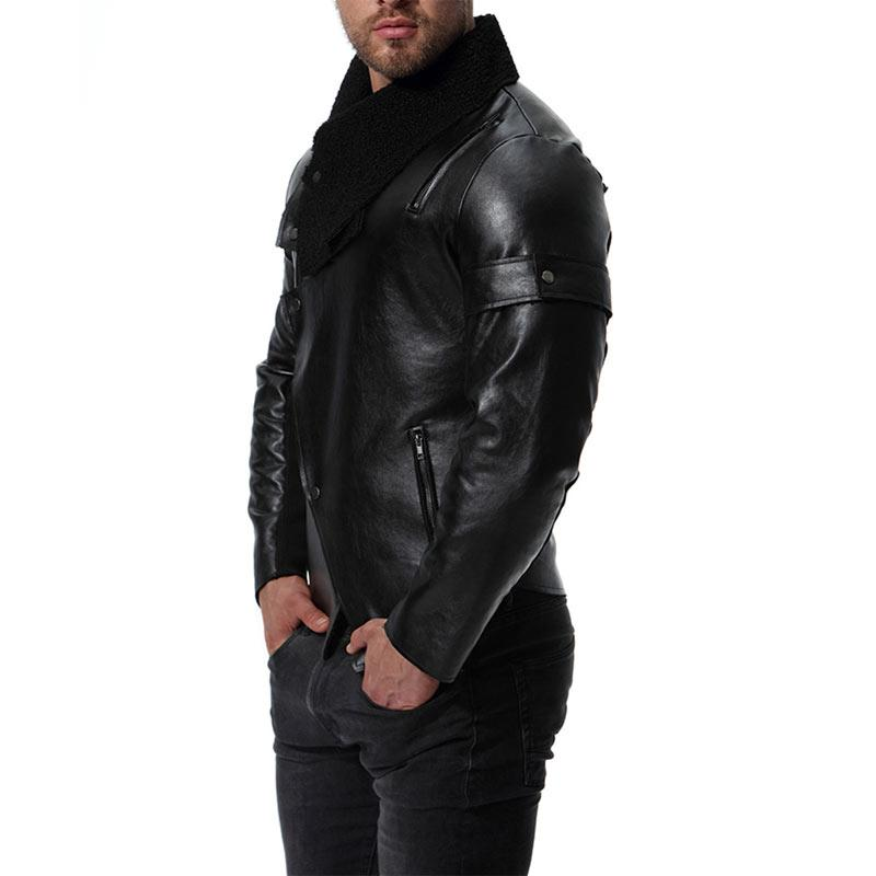 Men Black Lapel Biker Motorcycle Leather Jacket