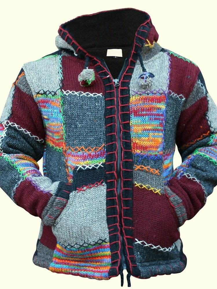 Color Block Hooded Patchwork Casual Winter Sweater