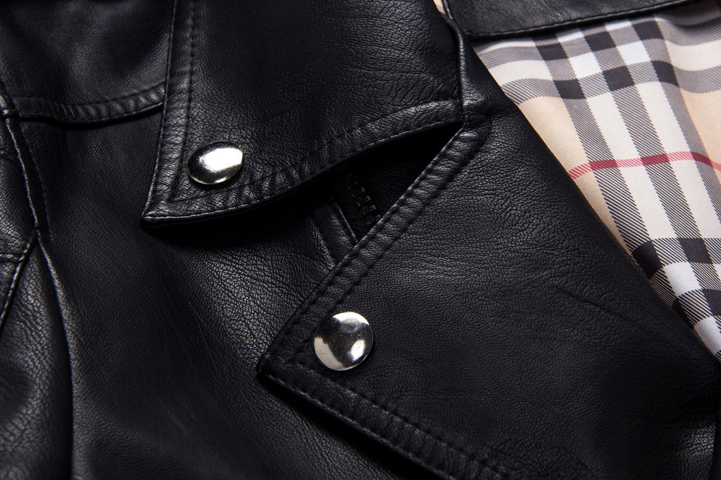 Standard Stand Collar Zipper Slim Leather Jacket