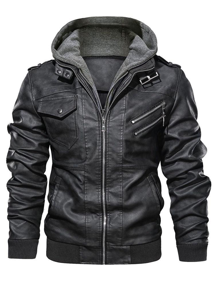 Plain Standard Hooded Slim Zipper Leather Jacket