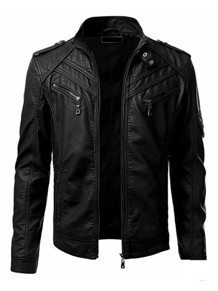 Standard Plain Stand Collar Slim Simple Leather Jacket