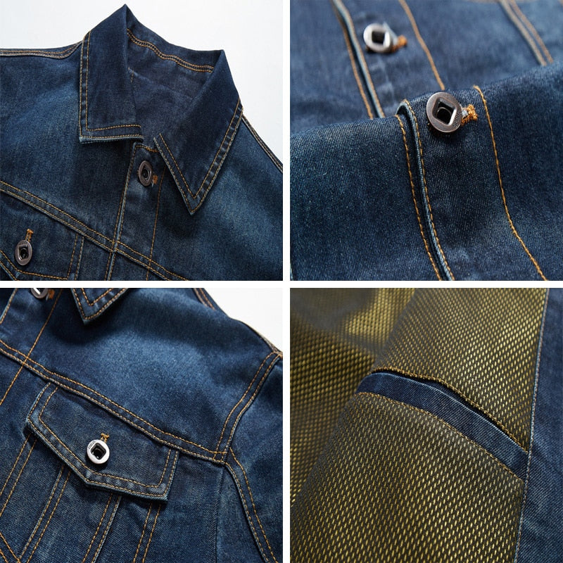 Mens Denim Jacket Trendy Fashion Ripped Denim Jacket Mens Jean Jackets