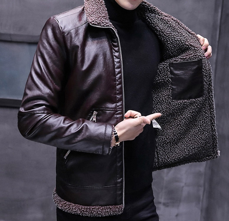 New Autumn Winter Men Leather Jacket Fur Collar Plus Velvet Thick Warm Zipper Jacket