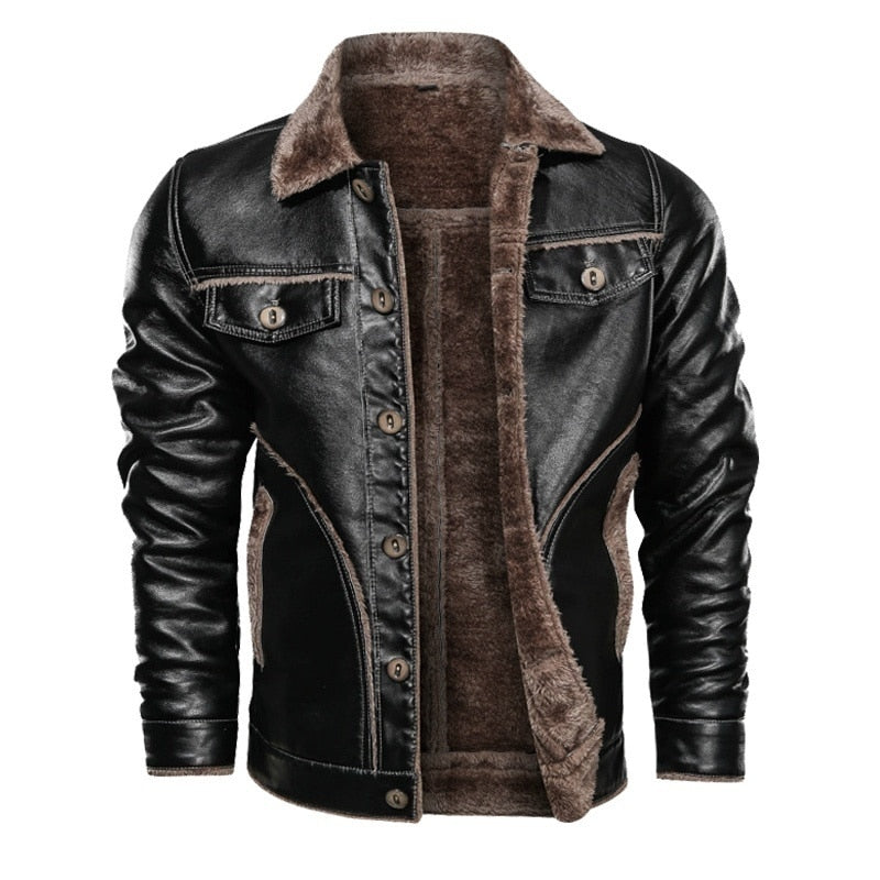 Men's Motorcycle Leather Jacket Winter Warm Wool Jackets