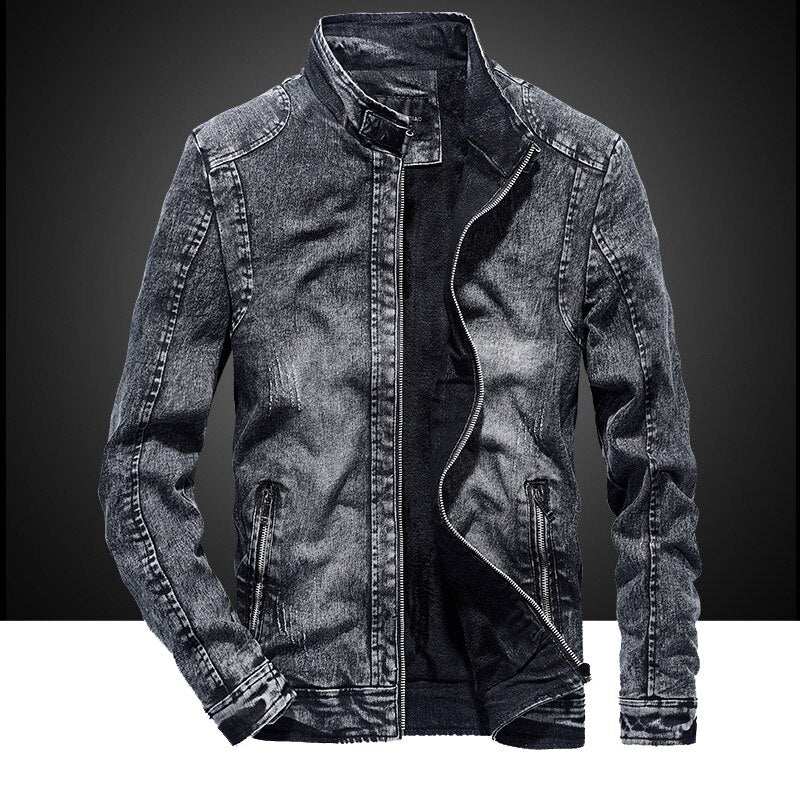 2020 new autumn and winter cotton slim men's retro casual denim jacket