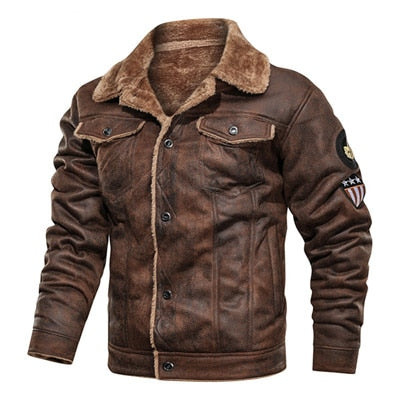 Mens Jackets and Coats Retro Style Suede Leather Jacket