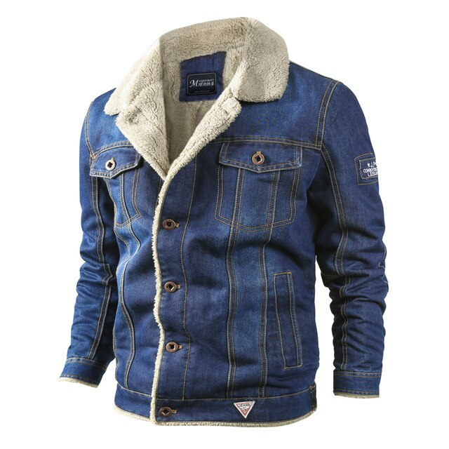 Winter Warm Mens Denim Jackets Fashion Male Fleece Thick Jeans Jacket