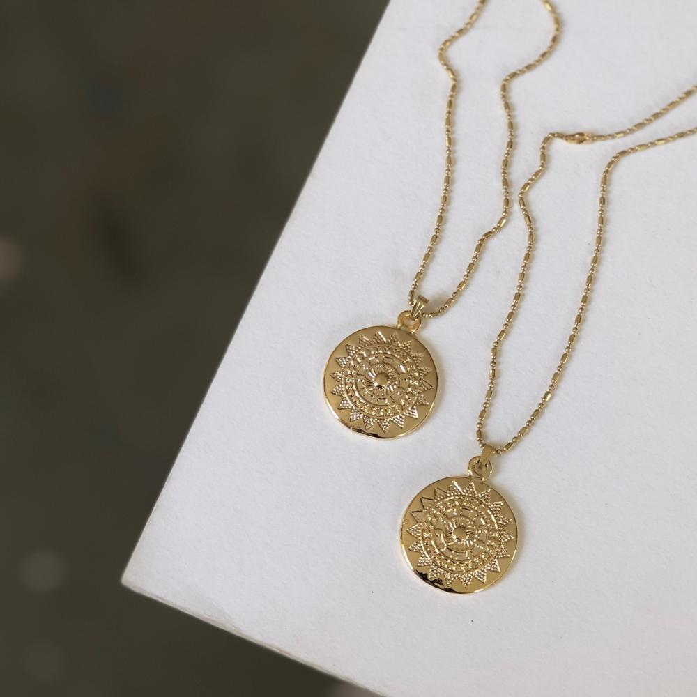 Mandala Coin Charm Necklace