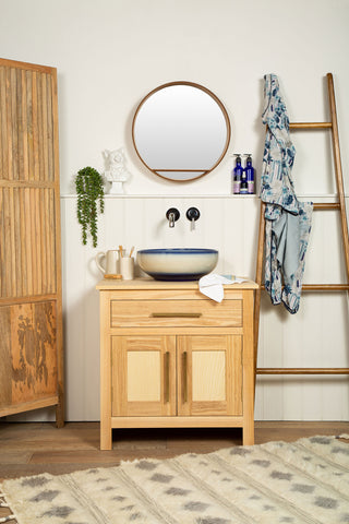 Blue and white countertop sink