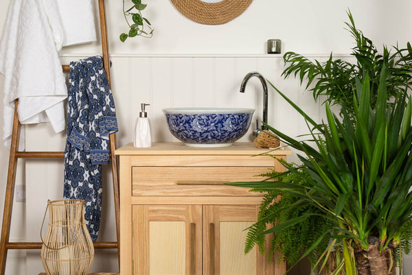 MARY Blue & White Chinois Countertop Bathroom Wash Basin Sink - The Way We Live London