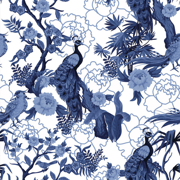 blue and white chinoiserie pattern