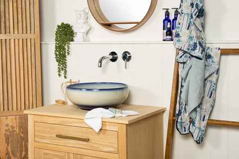 blue and white bathroom wash basins made from porcelain
