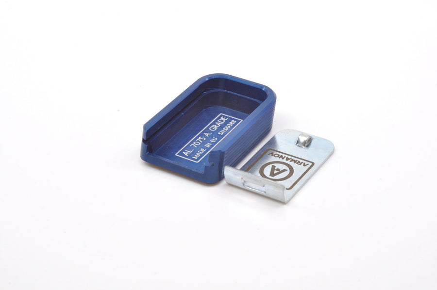 Blue CZ magazine base pad with locking plate