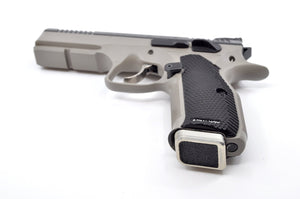 Silver base pad installed on a CZ handgun