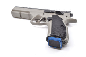Blue base pad installed on a CZ handgun