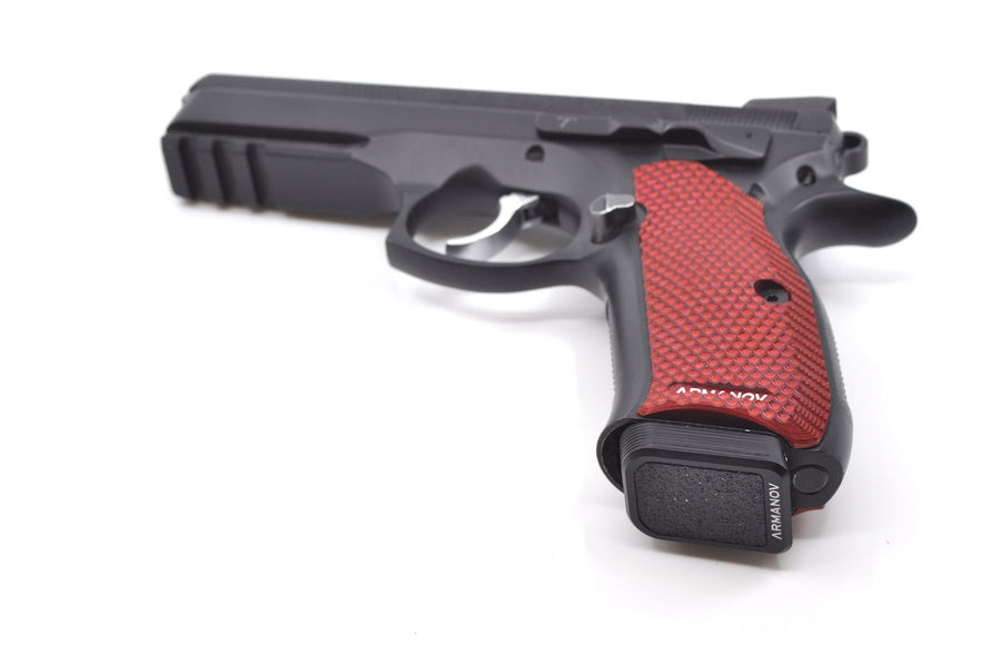 Black base pad installed on a CZ handgun